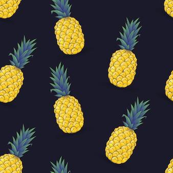 Naadloos patroon van ananas op donkerblauw