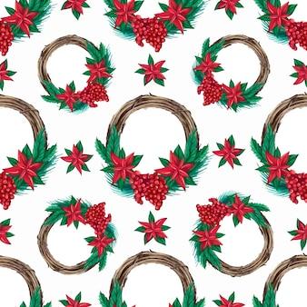 Naadloos patroon van aquarel kerstkransen