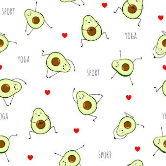 Naadloos patroon van avocado-yoga.