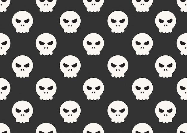 Naadloos patroon van beeldverhaalschedels op zwarte