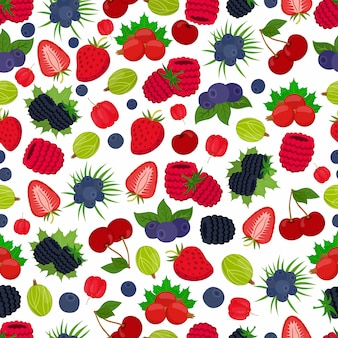 Naadloos patroon van bessen. aardbei, zwarte bes, bosbes, kruisbes, kers, acerola