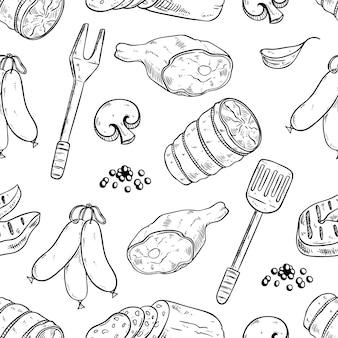 Naadloos patroon van biefstuk of barbecue met getrokken hand of schetsstijl