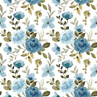 Naadloos patroon van blauw roze bloem aquarel