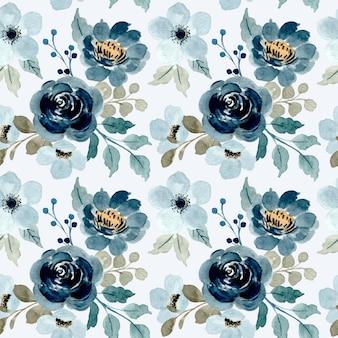 Naadloos patroon van blauwe bloemen met waterverf