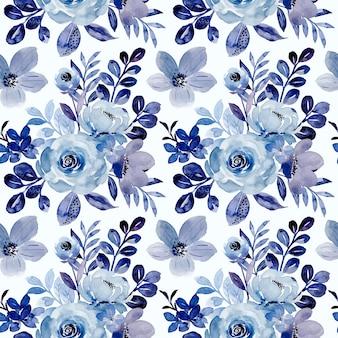 Naadloos patroon van blauwe bloemenwaterverf