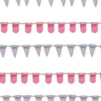 Naadloos patroon van blauwe en roze hangende vlaggen