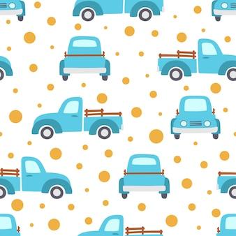 Naadloos patroon van blauwe pick-up met oranje cirkels. landbouwmachines voor transport en transport van producten.
