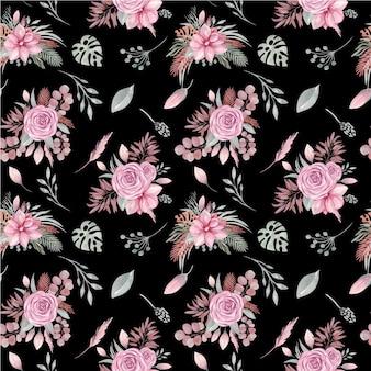 Naadloos patroon van bloemenelementen op een zwarte achtergrond. boho gedroogde planten en bloemen, roos, tropische bladeren, eucalyptustakken, magnolia