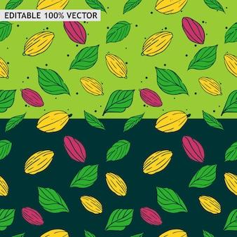 Naadloos patroon van cacaopeulen en bladeren