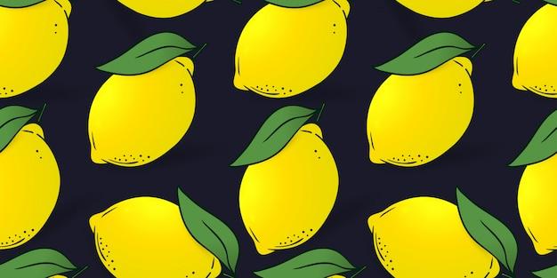 Naadloos patroon van citroenen met bladeren