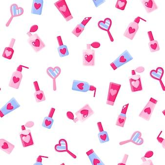 Naadloos patroon van cosmetica, spiegels, harten, lippenstiften, parfum