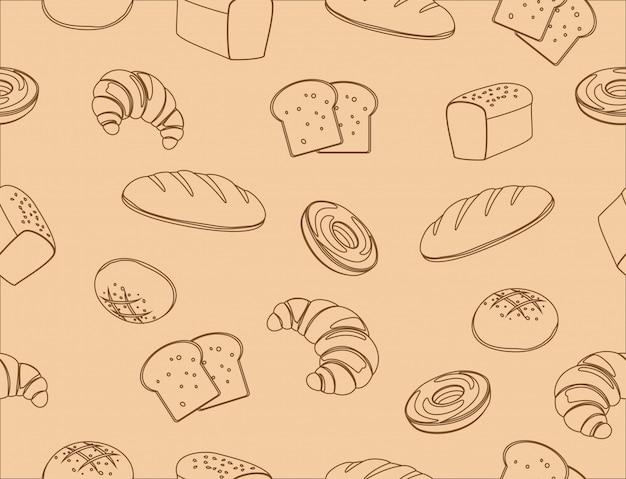 Naadloos patroon van de hand getekende lijn kunst bakkerij
