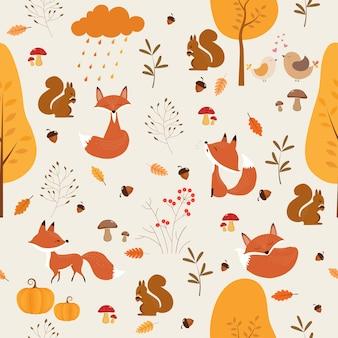 Naadloos patroon van de herfst met leuke vos en eekhoorn.