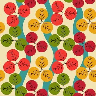 Naadloos patroon van de herfst met rood, geel en groen