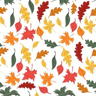 Naadloos patroon van de herfstbladeren van bomen en eik en esdoorn