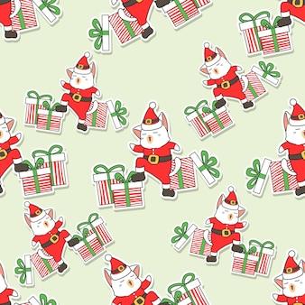 Naadloos patroon van de kerstman en geschenken