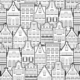Naadloos patroon van de oude huizen van holland van de lijnstijl