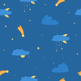 Naadloos patroon van de sterrenhemel met wolken en sterren