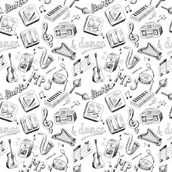 Naadloos patroon van de tekening van de de krabbelhand van muziekinstrumenten