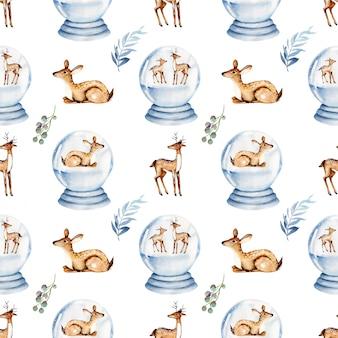 Naadloos patroon van deers van waterverfkerstmis