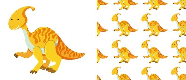 Naadloos patroon van dinosaurussen op wit