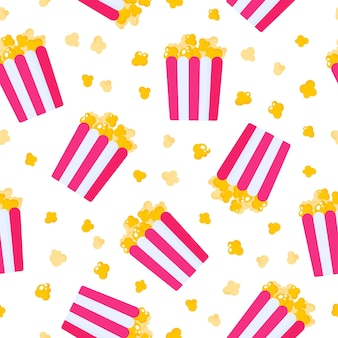 Naadloos patroon van document vakje met popcorn