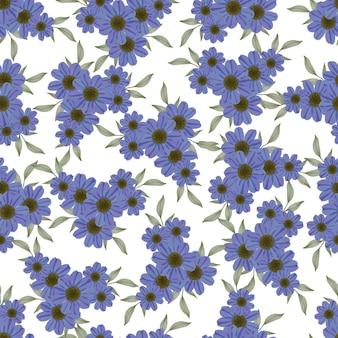 Naadloos patroon van donkerpaarse bloem