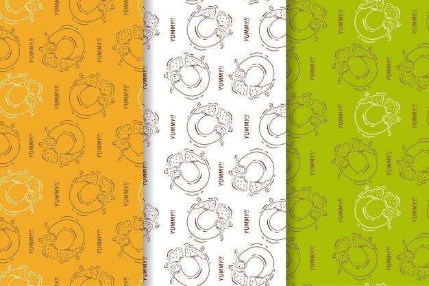 Naadloos patroon van donutrestaurant