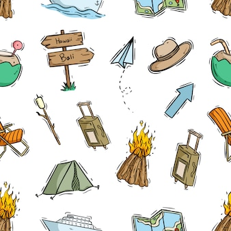 Naadloos patroon van doodle camping-thema