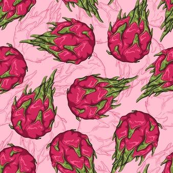 Naadloos patroon van draakfruit