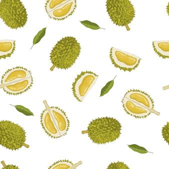 Naadloos patroon van durian en bladeren