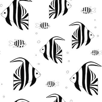 Naadloos patroon van exotische koraalrifvissen onderwater zwemmende dieren
