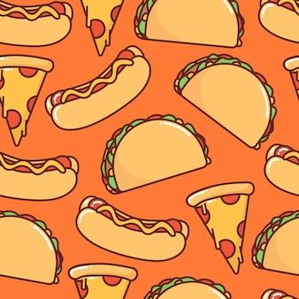 Naadloos patroon van fast food