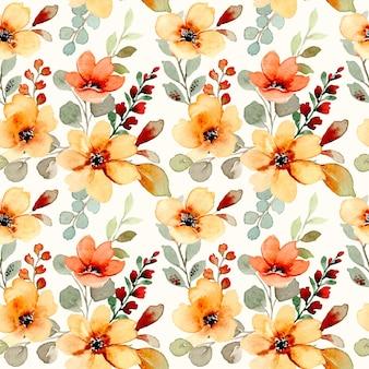 Naadloos patroon van gele en oranje bloemen met waterverf