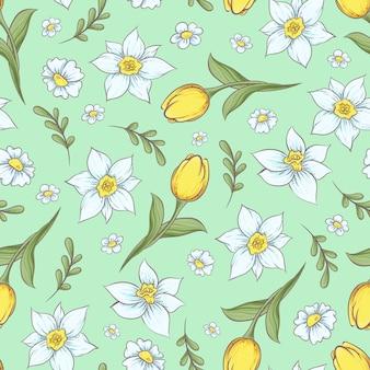 Naadloos patroon van gele narcis tulpen
