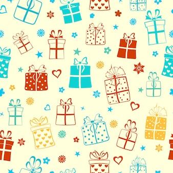 Naadloos patroon van geschenkdozen, bloemen en harten, veelkleurig op wit