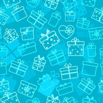 Naadloos patroon van geschenkdozen, wit op lichtblauw
