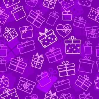 Naadloos patroon van geschenkdozen, wit op violet