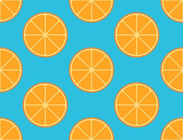 Naadloos patroon van gesneden oranje fruit op blauw