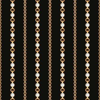 Naadloos patroon van gouden kettingslijnen op zwarte achtergrond.