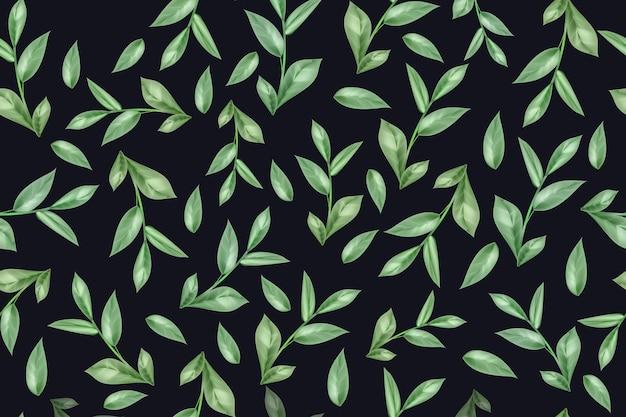 Naadloos patroon van groene thee of muntblaadjes op een witte achtergrond