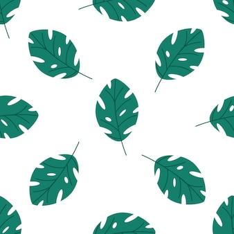 Naadloos patroon van groene tropische bladeren vectorelementen op een witte achtergrond in een vlakke stijl