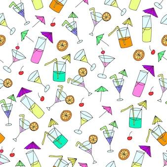 Naadloos patroon van handgetekende cocktails op een witte achtergrond