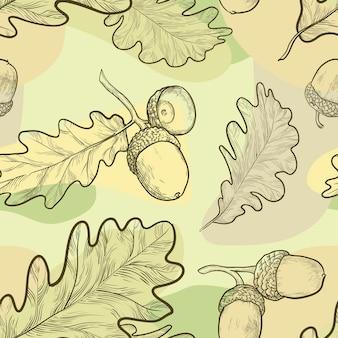 Naadloos patroon van handgetekende eikenbladeren en eikels