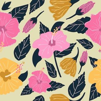 Naadloos patroon van handgetekende hibiscusbloemen