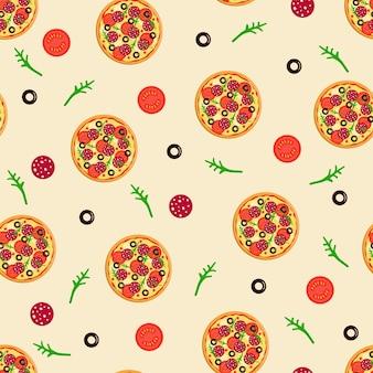 Naadloos patroon van hele ronde pizza met tomaten