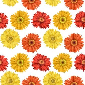 Naadloos patroon van herfstasters en gerberabloemen