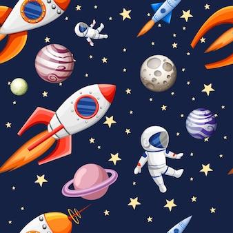Naadloos patroon van het ontwerp van het ruimteelementenbeeldverhaal