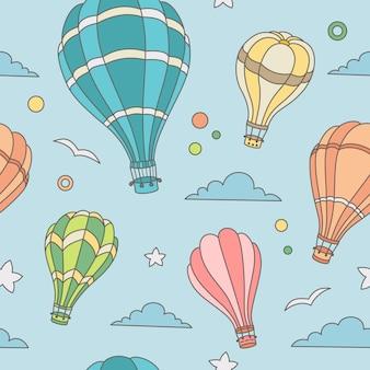 Naadloos patroon van hete luchtballons op de hemel