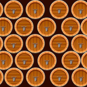 Naadloos patroon van houten wijn- of biervaten vlakke afbeelding